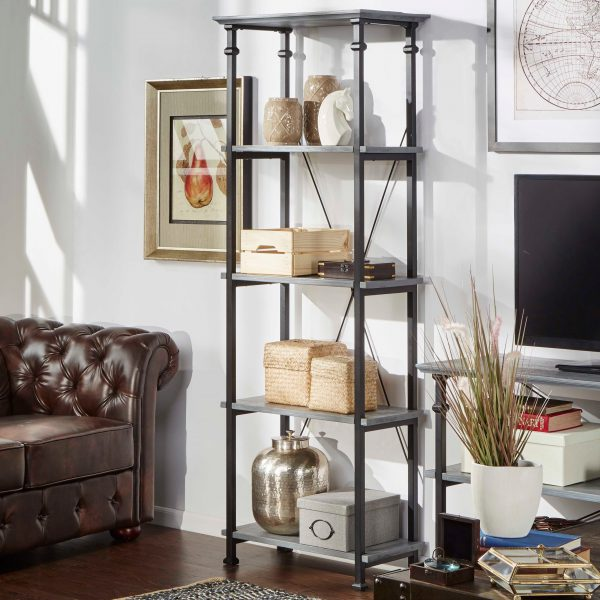 3.Loft工業風-小置物櫃書櫃(灰色)-min