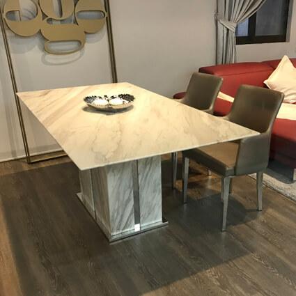 DTB-Y1710天然石餐桌(180*95)+CHR-Y1710扶手餐椅*4