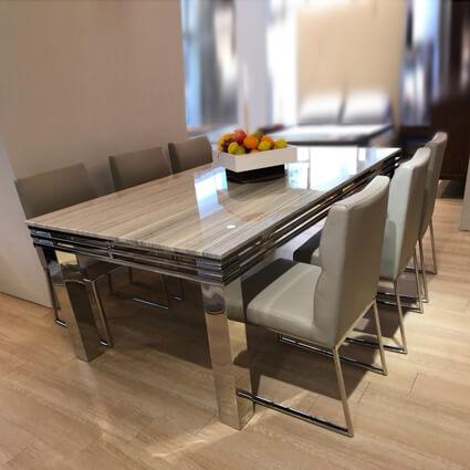 DTB-HT-1708天然石餐桌(200*110*75)+CHR-2123餐椅*6