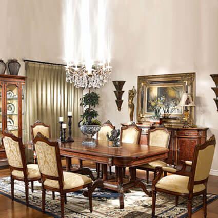 古典餐桌椅組                  (一餐桌+無扶手布餐椅6只) LV-710-3&LV-720-2*6