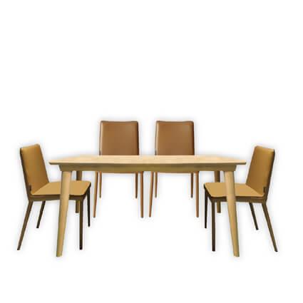 C20191北歐原木色餐桌135CM ( #7005可可亞色)+C26508-餐椅*4(#B19褐色)