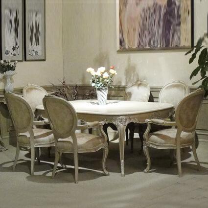 手工雕刻餐桌椅組    (一餐桌+扶手餐椅6只)  CO-AFB-8D & CO-AFB-9A*6