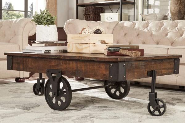 工業車輪深褐色-咖啡桌情境照