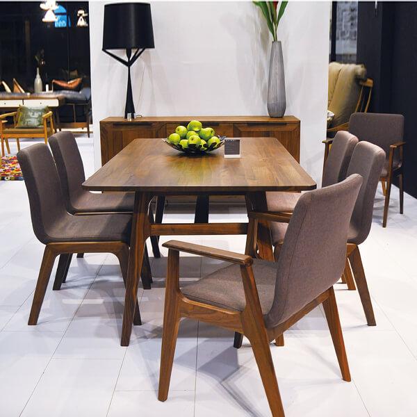 羅蘭索-(2-2)DTB-KD天然胡桃木實木餐桌+餐椅+長凳(全台獨家優惠)
